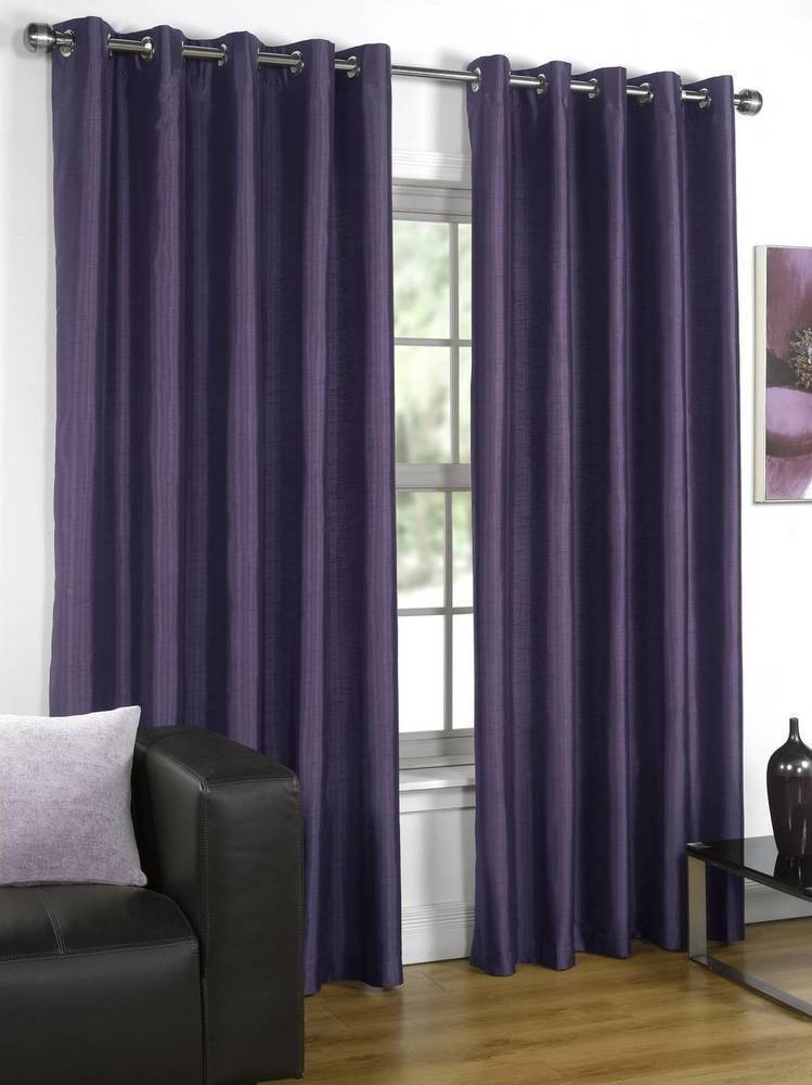 Silk Interlined Purple Curtains