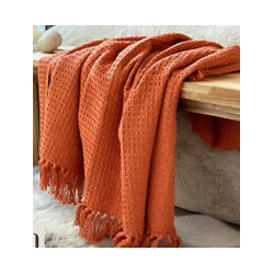 Waffle Cotton Throw Ochre